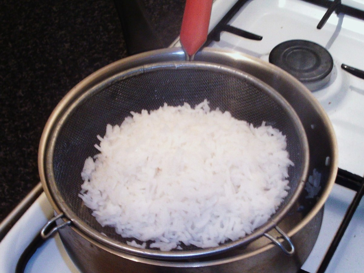 Rice is throughly drained