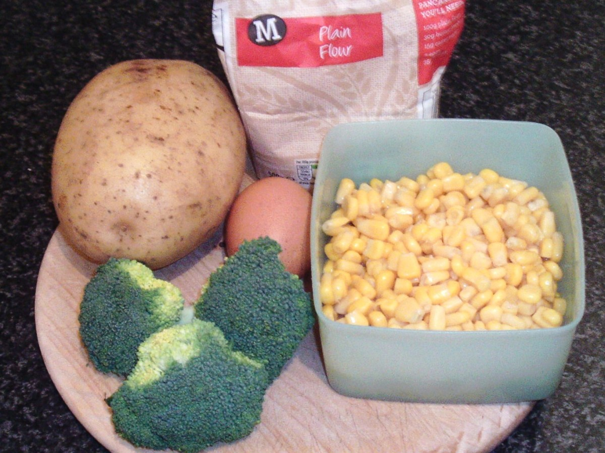 Principal ingredients for broccoli, sweetcorn and potato fritters