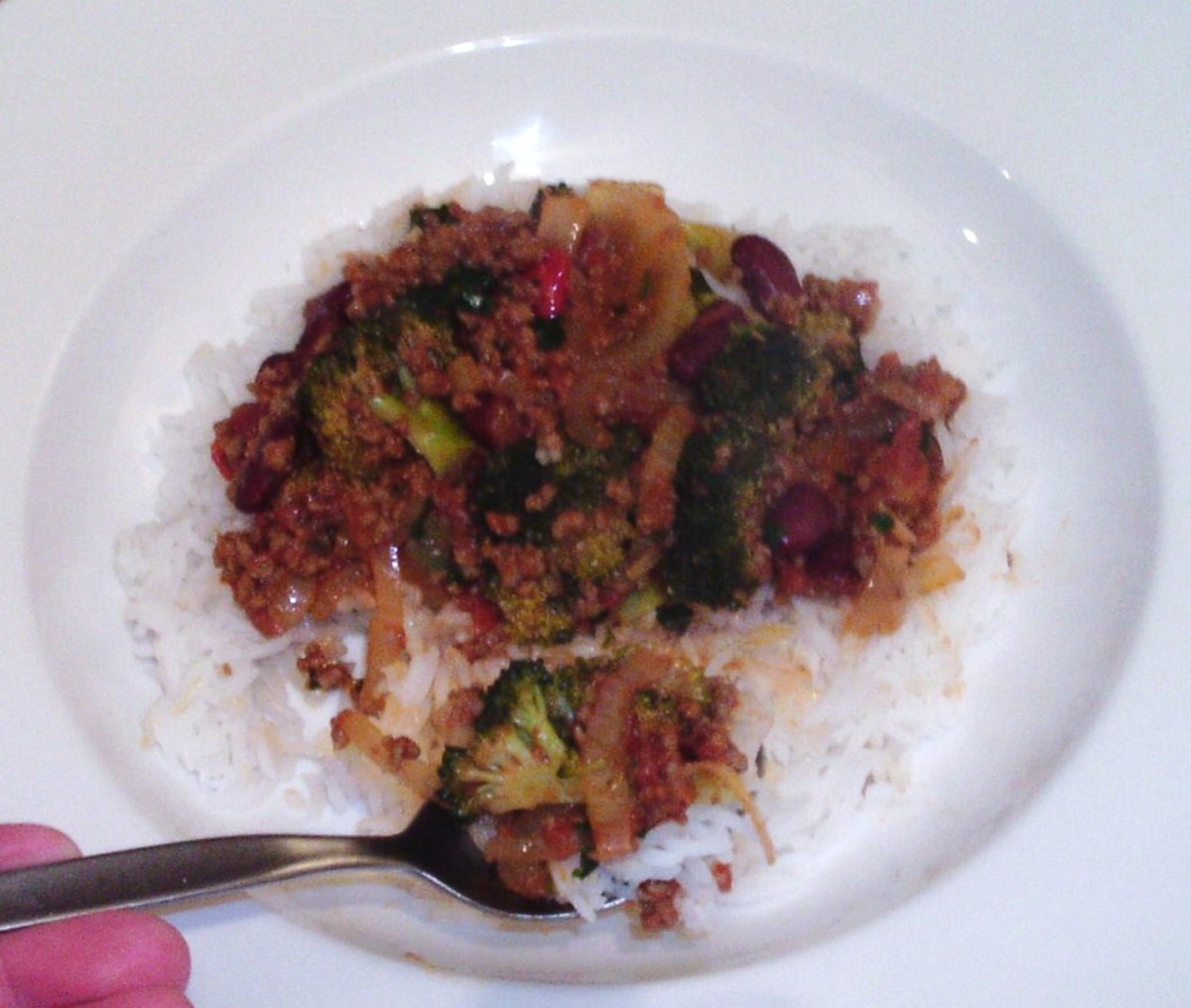 Tucking in to beef and broccoli chilli
