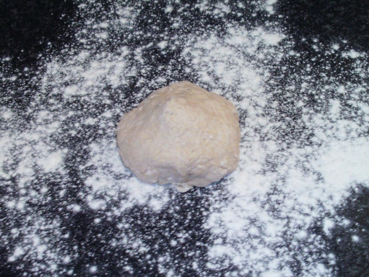 Pizza dough ready to be kneaded