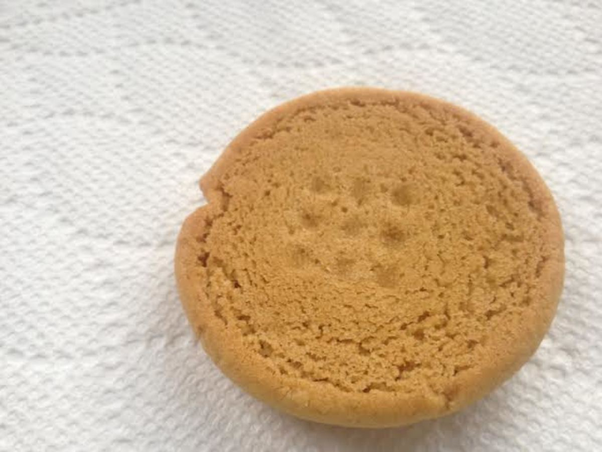 A perfectly baked peanut butter cookie is the same color on the bottom that it is on the top.
