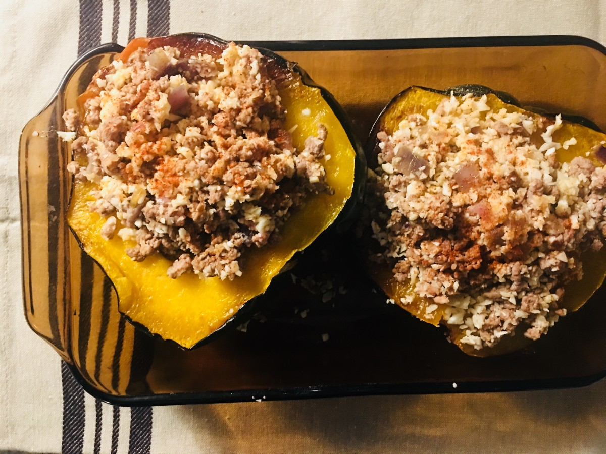 "Fill the squash with the beef and the cauliflower ""rice."""