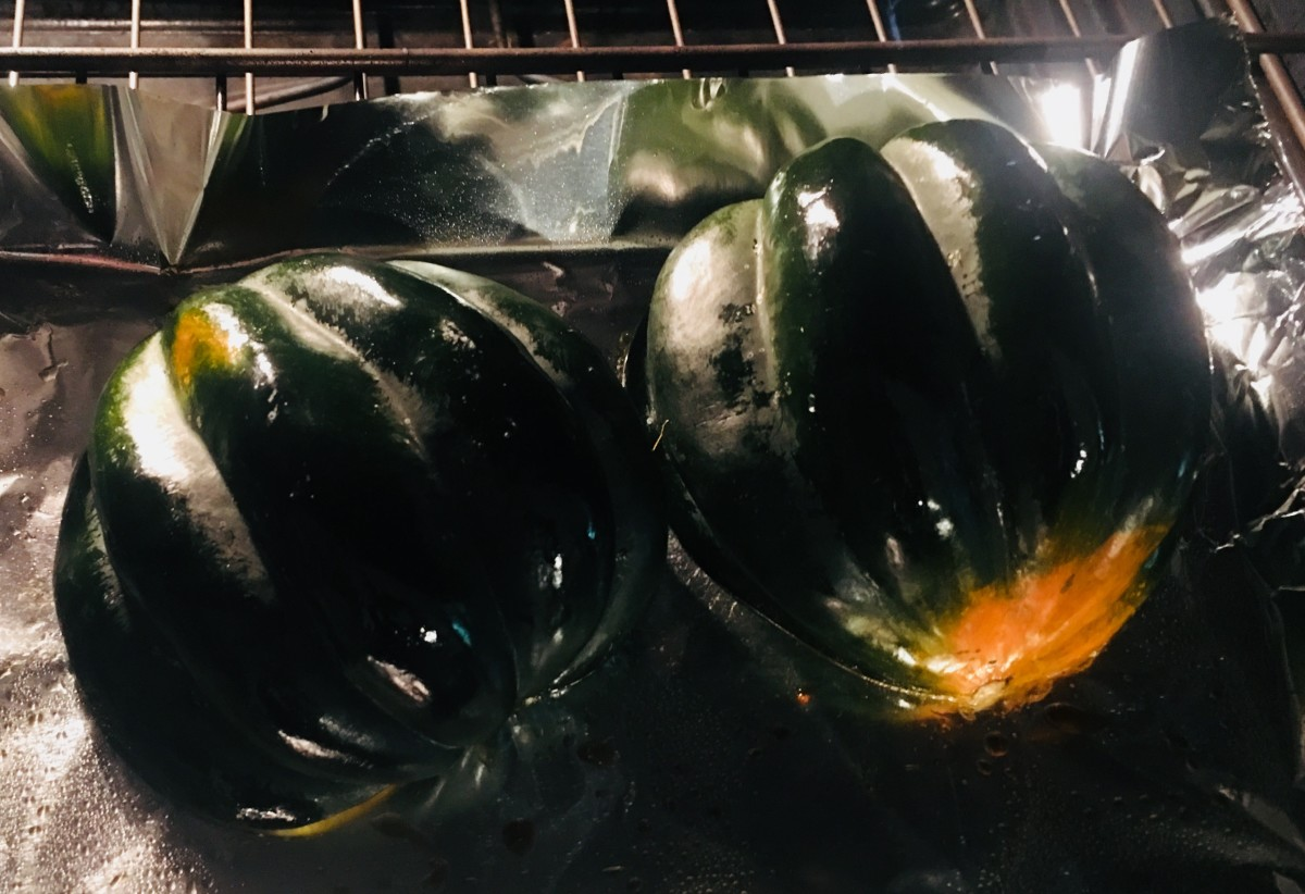 Bake the squash facedown at 400°F for 30 minutes or until skin is soft.