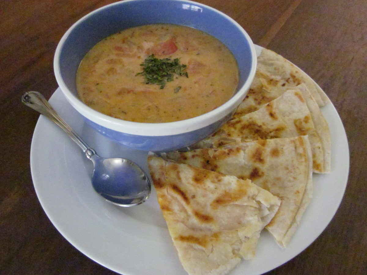 Serving suggestion for cilantro-tomato soup