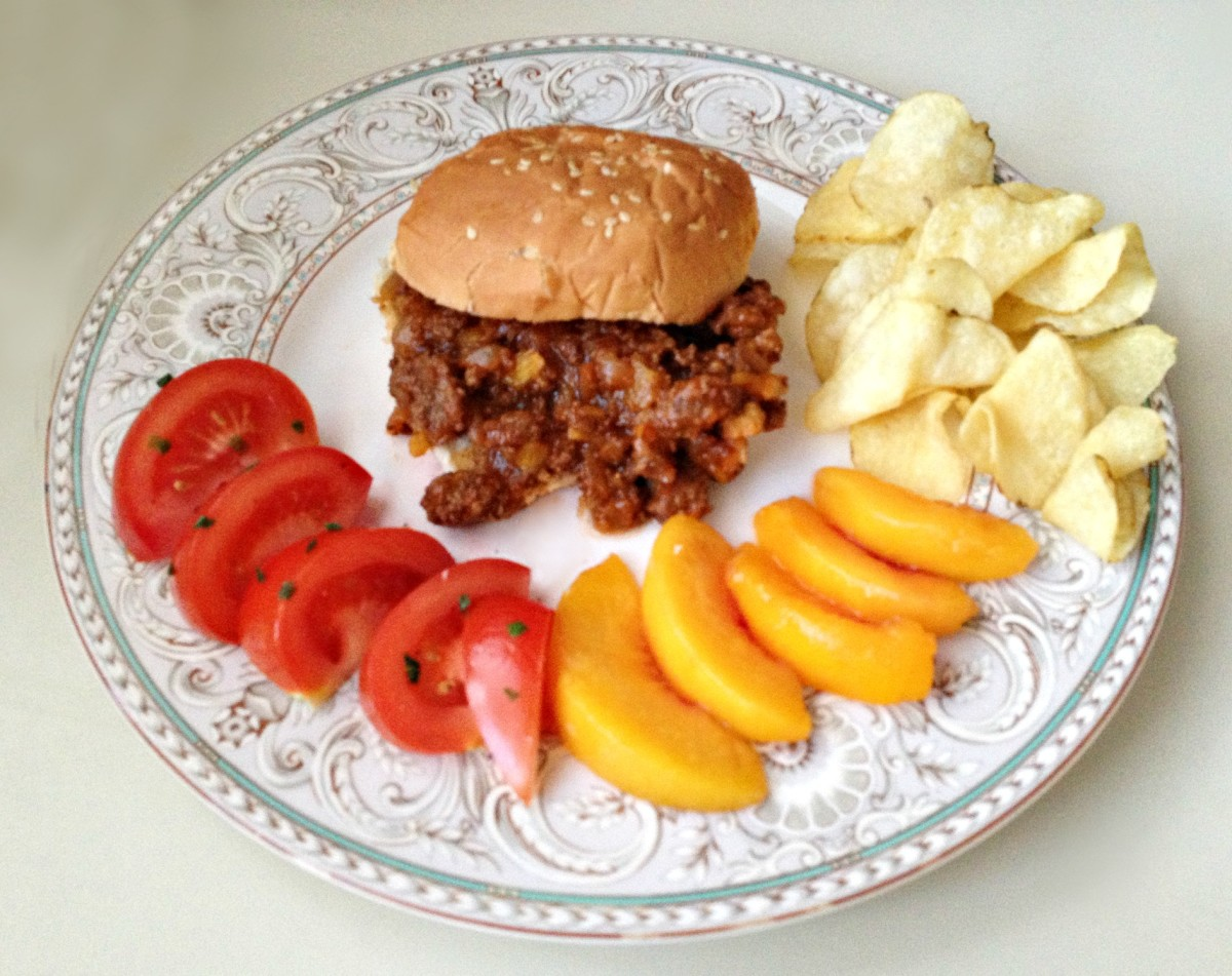 Sweet & Smoky Sloppy Joes with Peaches made from my original recipe