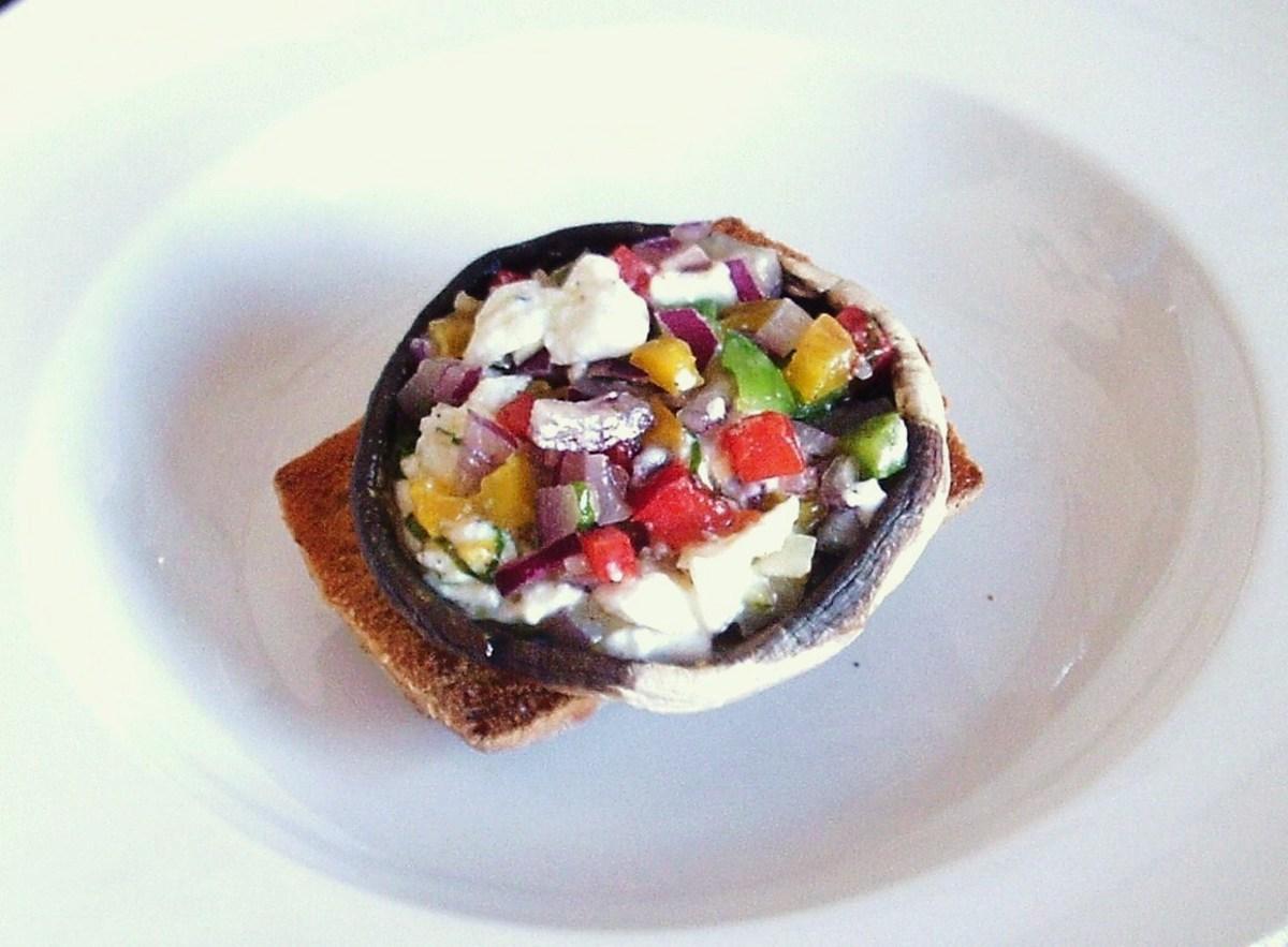 Mozzarella infused salsa stuffed mushroom on bruschetta