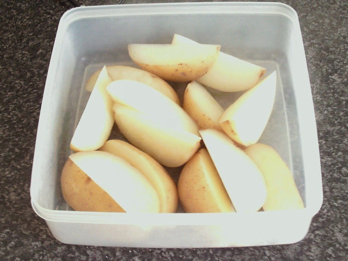 Parboiled potato wedges ready for fridge
