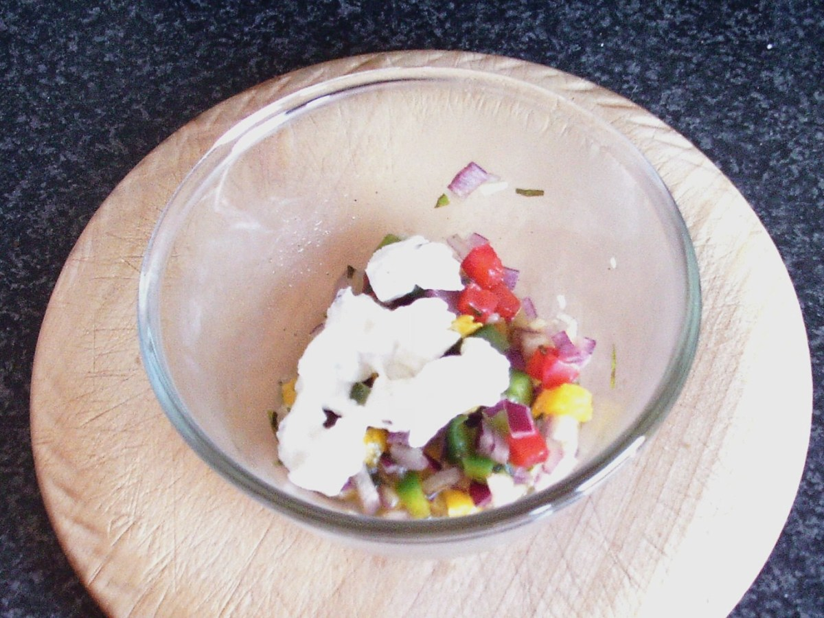 Chopped mozzarella is added to salsa at last minute