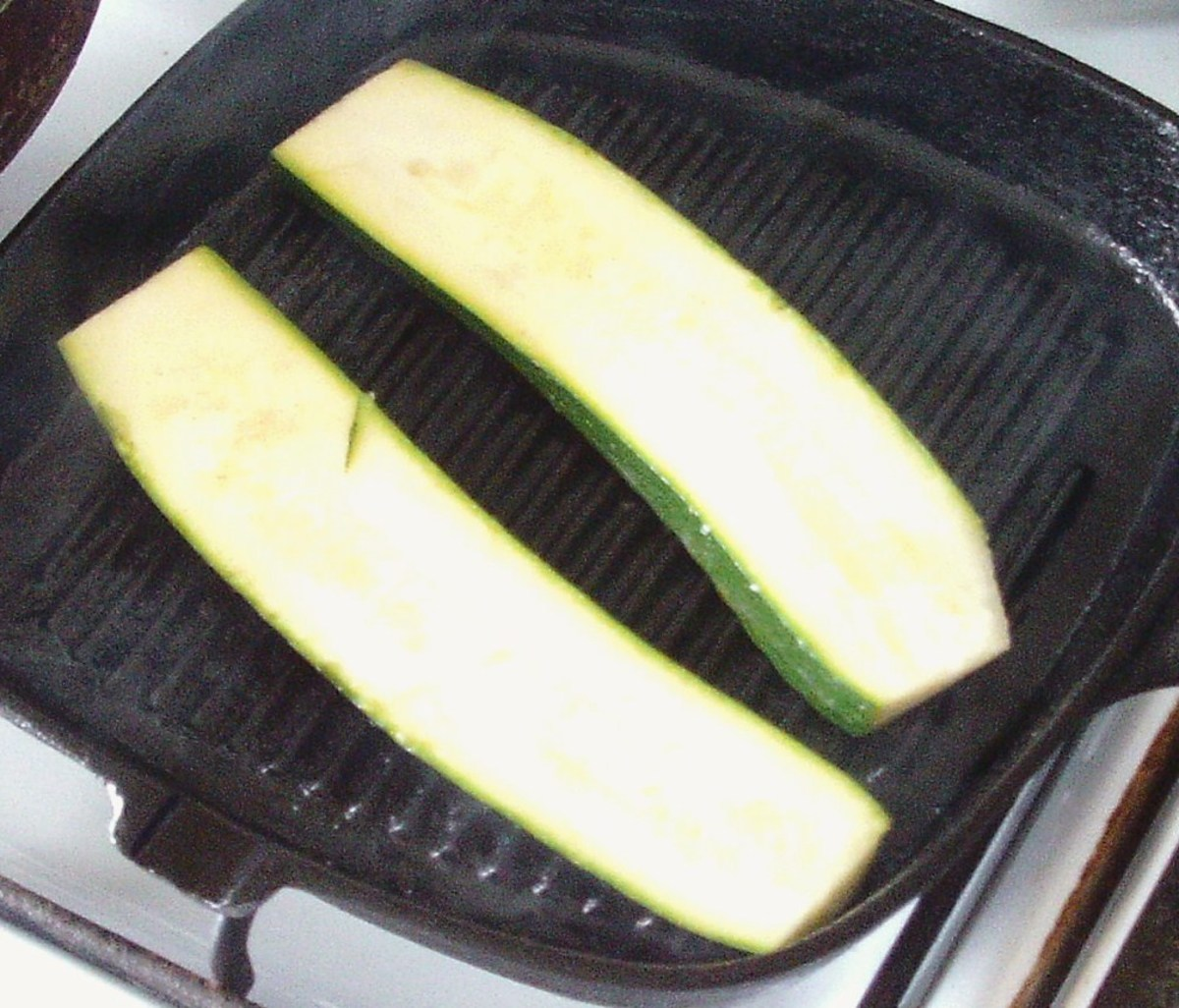 Starting to griddle zucchini slices