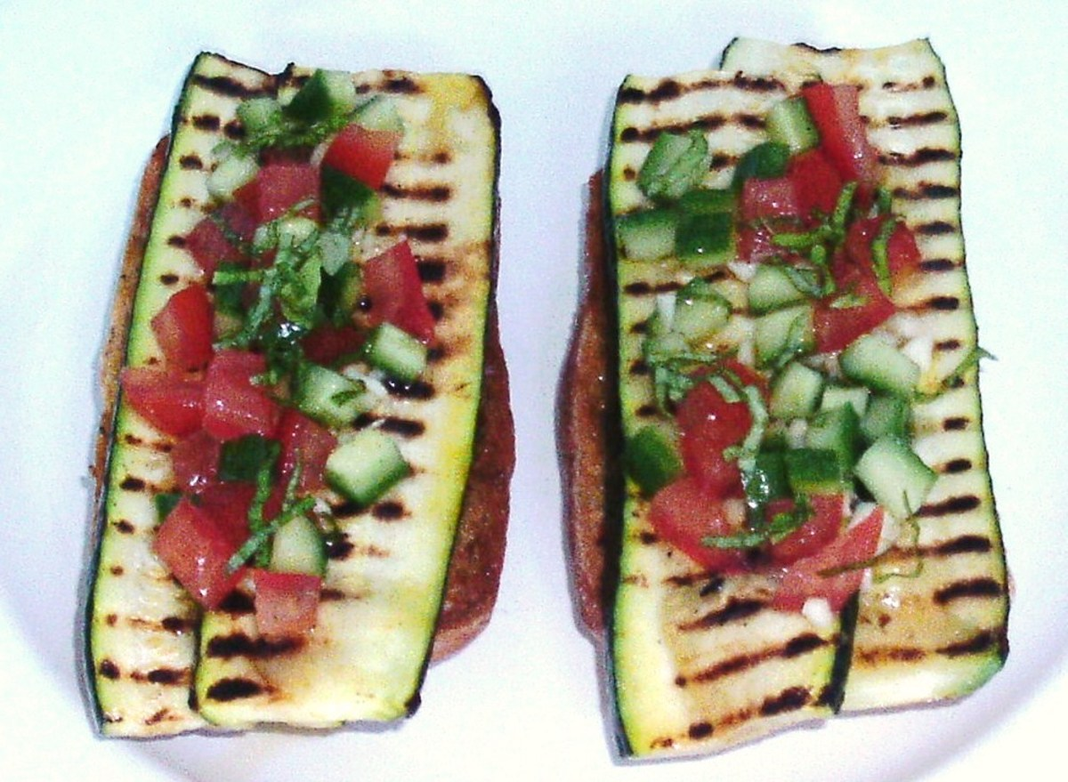 Griddled zucchini strips and salsa on sun dried tomato bruschetta.