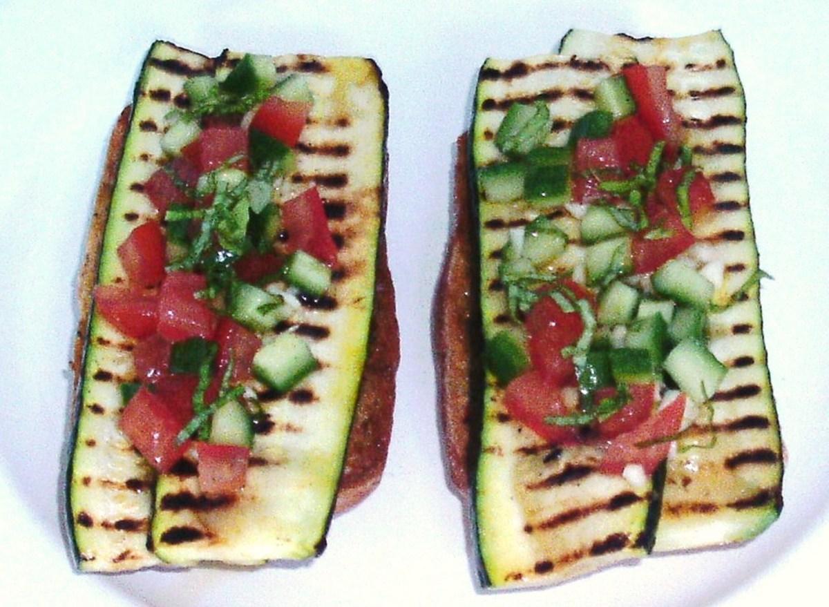 Griddled zucchini strips and salsa on sun dried tomato bruschetta.