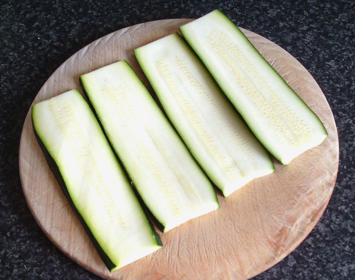 Zucchini slices ready for salting or cooking.