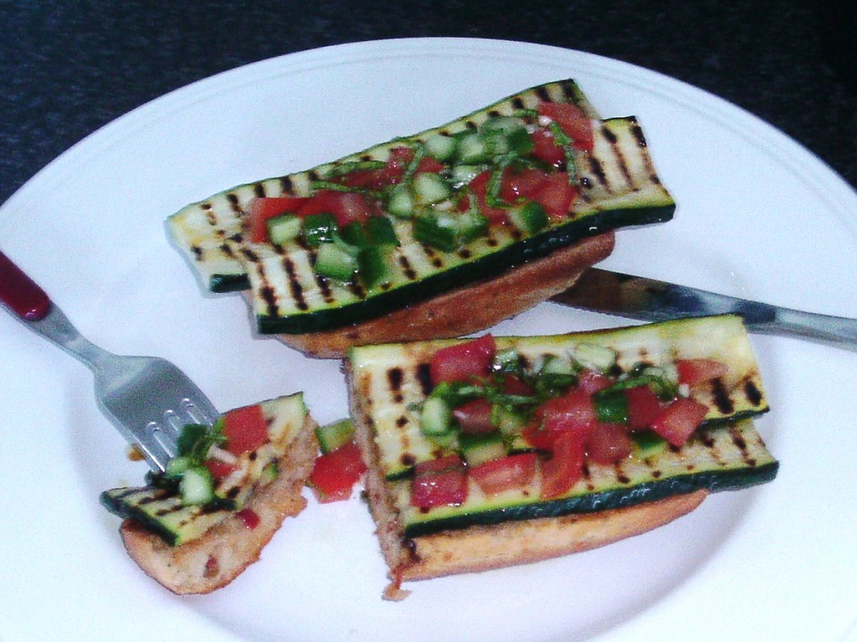 Enjoying zucchini and salsa bruschetta