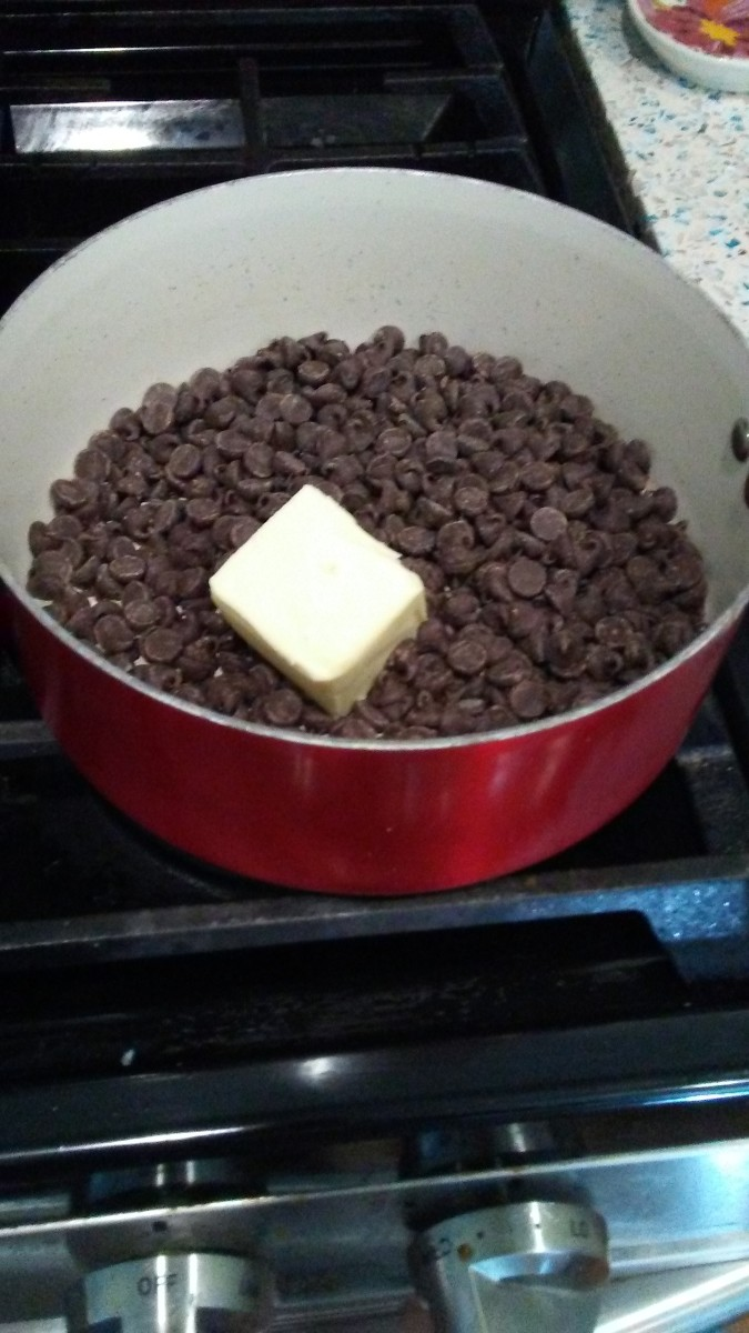 You need 1 (12-oz) package semisweet chocolate chips and 1/4 cup butter. Keep stirring so the chocolate won't burn!