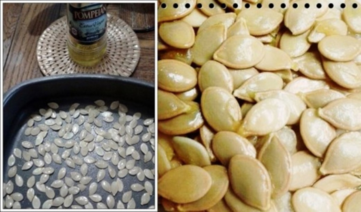 Left: Oiled, salted seeds ready to roast. Right: Close up of fresh roasted pumpkin seeds.
