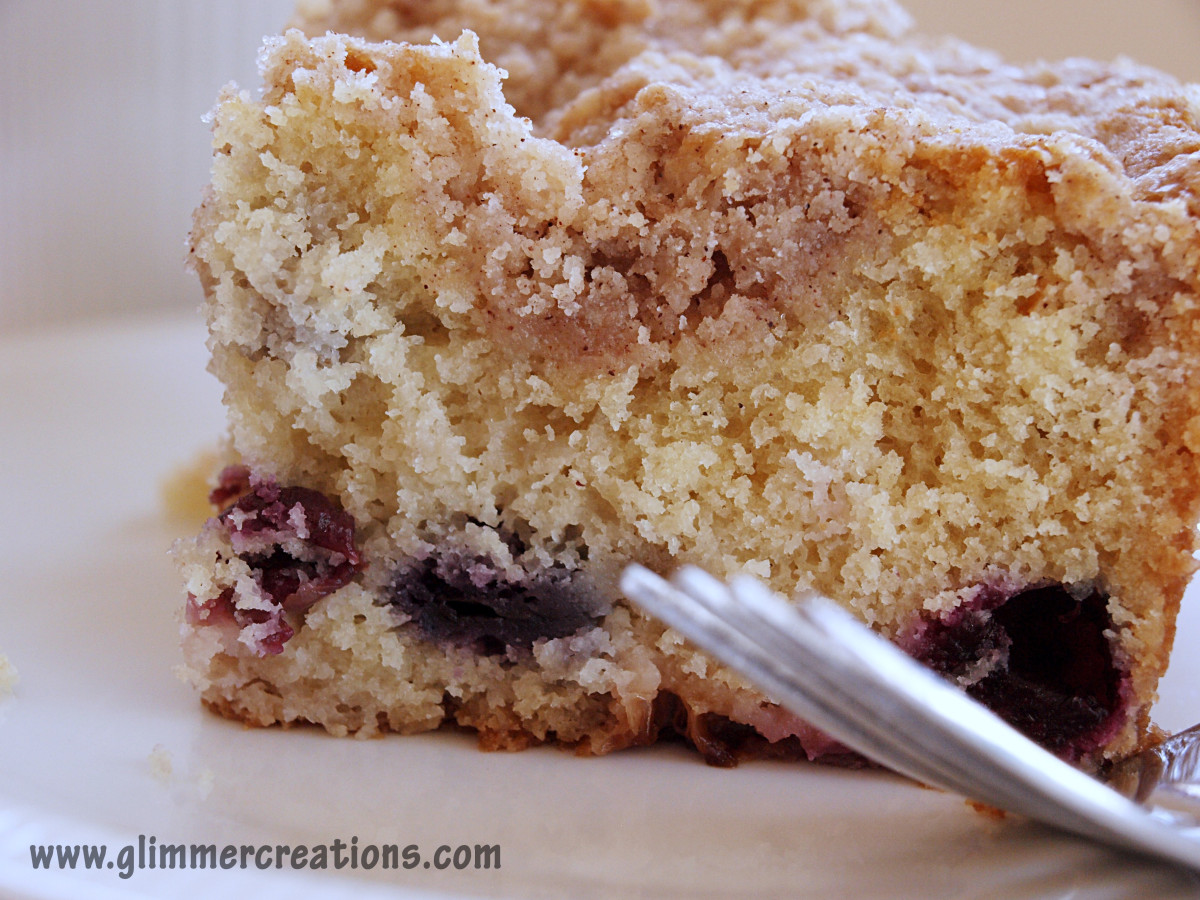 Blueberry Rhubarb Coffee Cake Recipe - Perfect for all of those frozen blueberries that may be in your freezer.