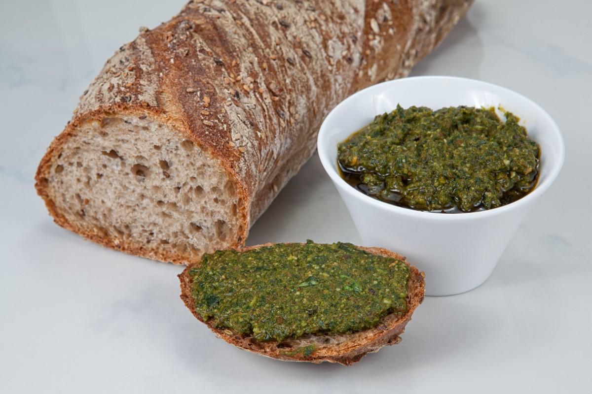 Mixed herb pesto on bread (yummy crostini)