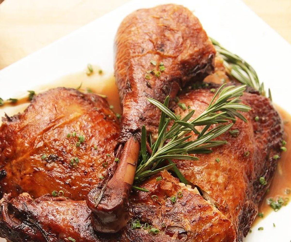 Braised turkey thighs with cider