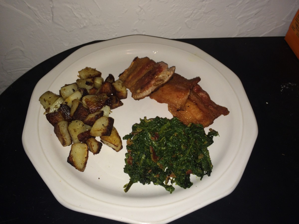 Poke Sallet with Fried Potatoes and Salt Pork