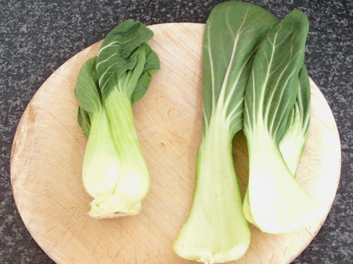 Pak choi leaves are carefully separated
