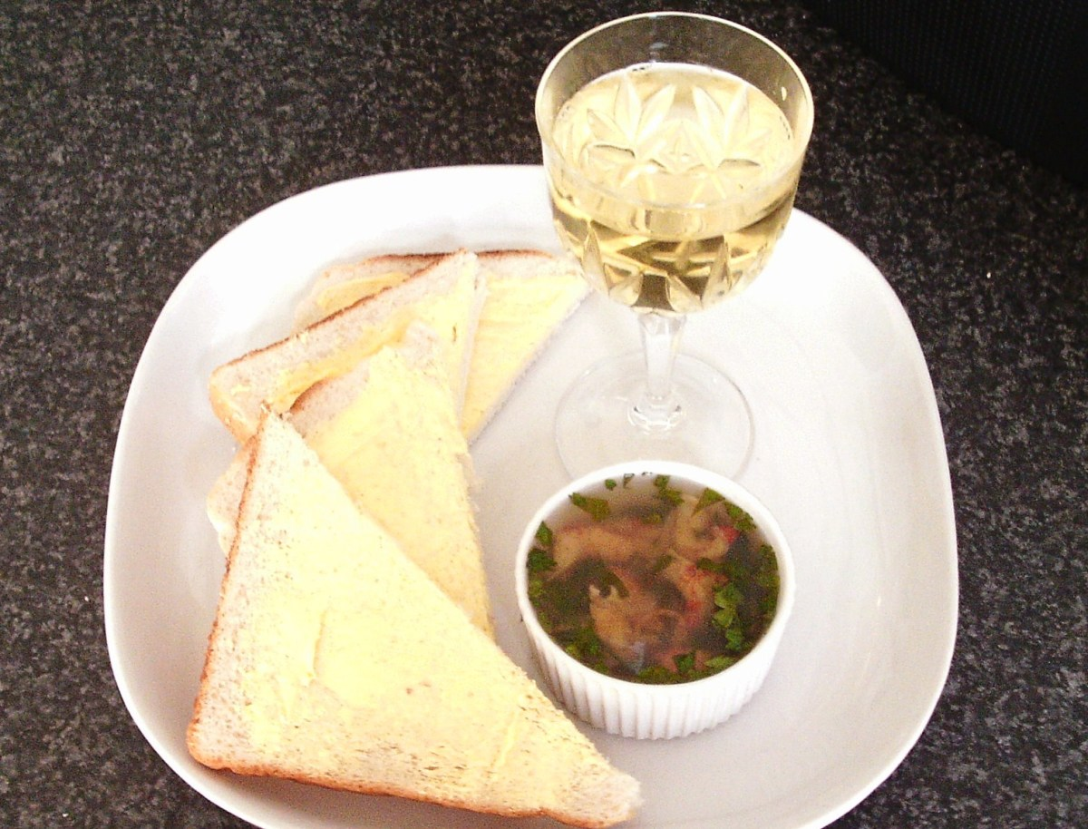 Coriander and lime potted crayfish tails with bread, butter and white wine
