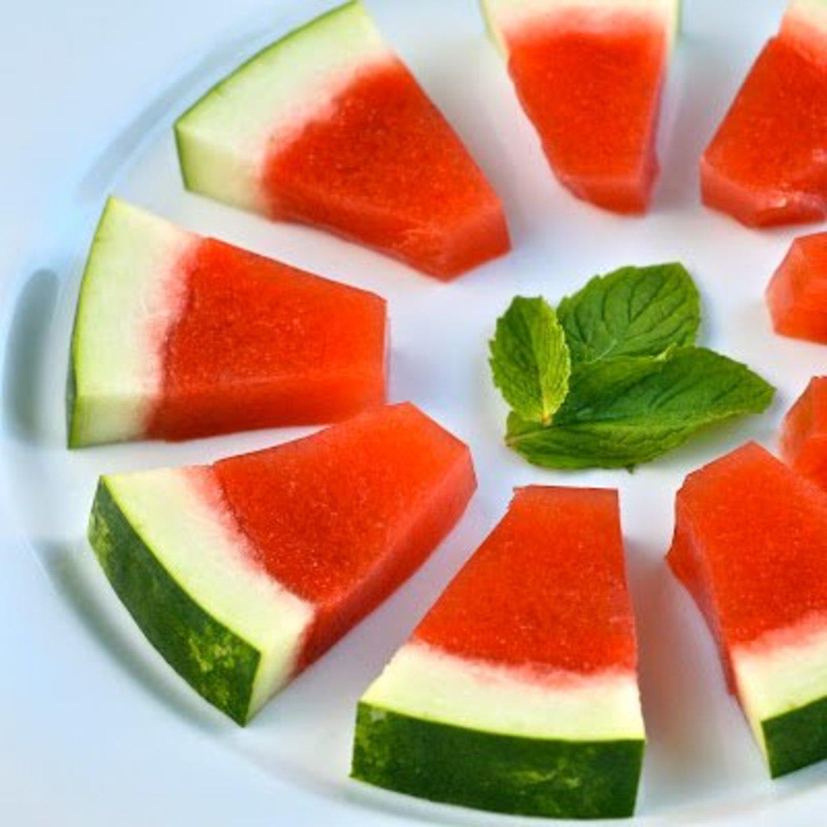 Watermelon Jello shots, served in the original watermelon rind.