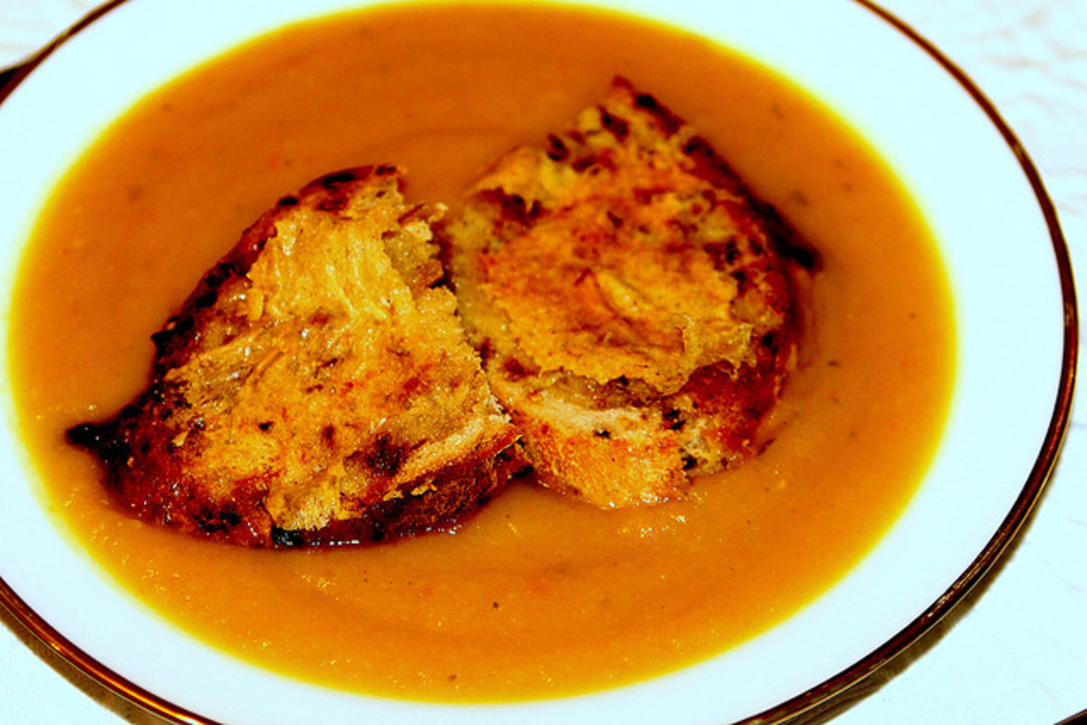 Butternut squash soup served with hot buttered toast.