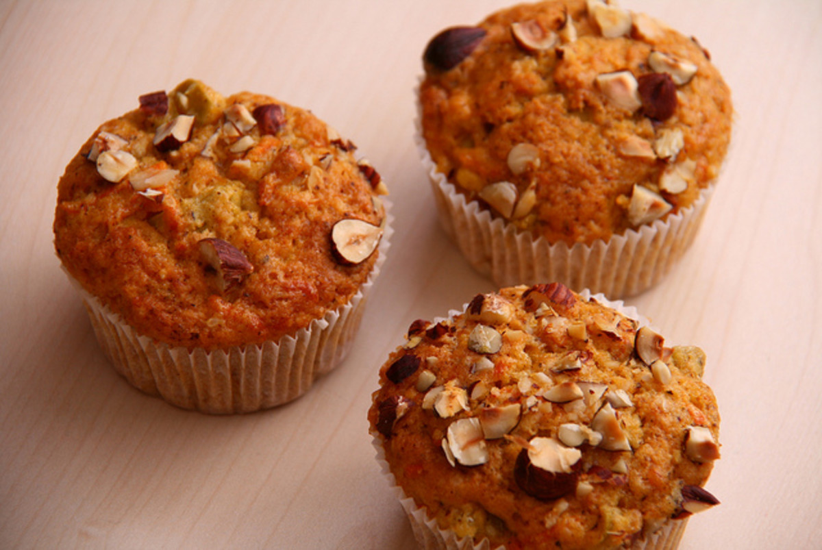 Muffins are a delicious treat and can be made more nutritious by adding grated vegetables to the mixture.