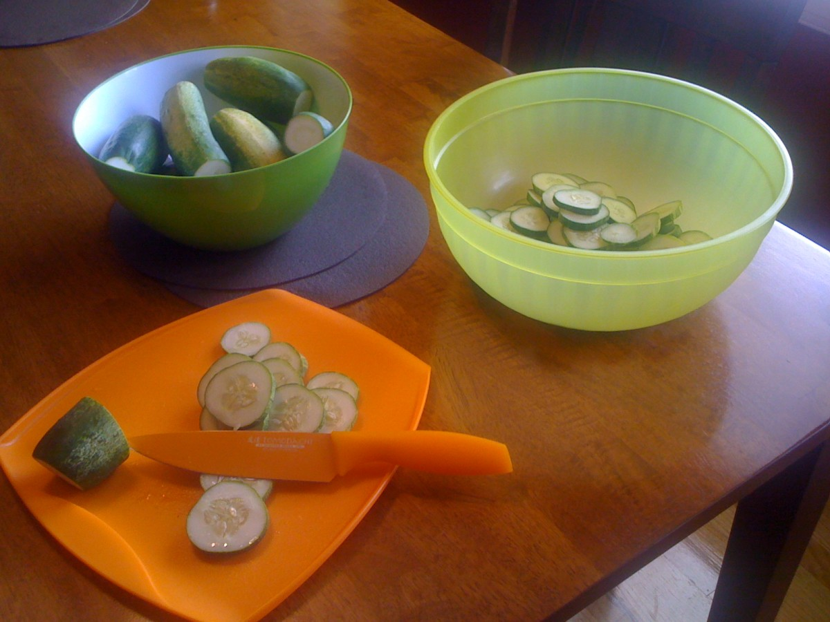 Prepping some of the cucumbers.