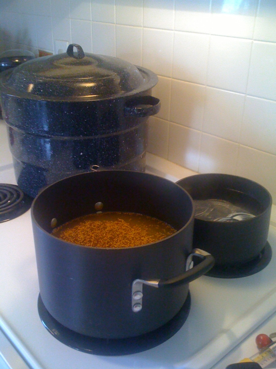Boiling the seasoned liquid.