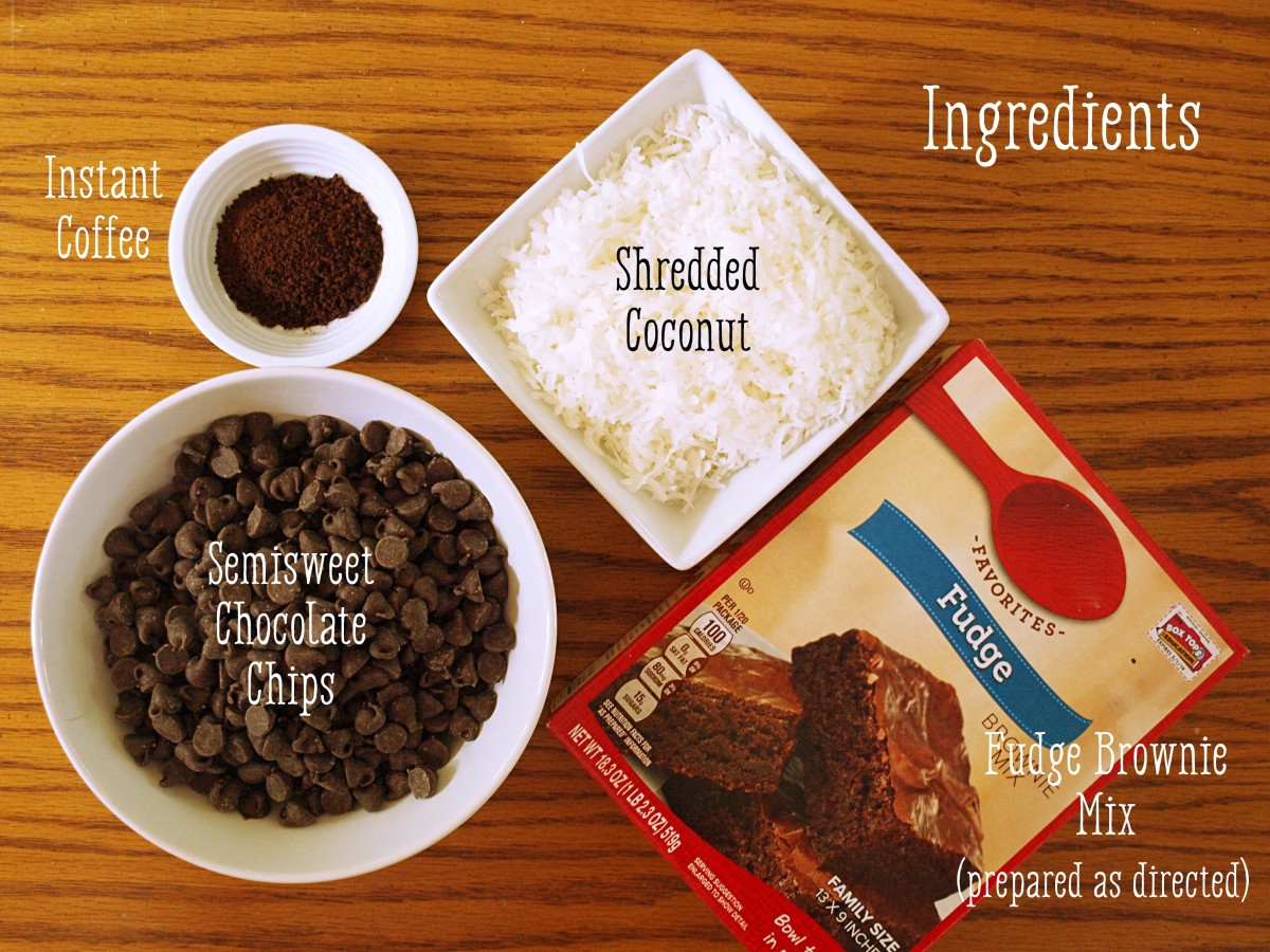 Ingredients needed for the toasted coconut mocha truffle recipe.