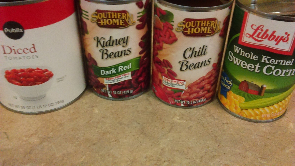 Chili beans, Kidney beans, Corn, Canned tomatoes
