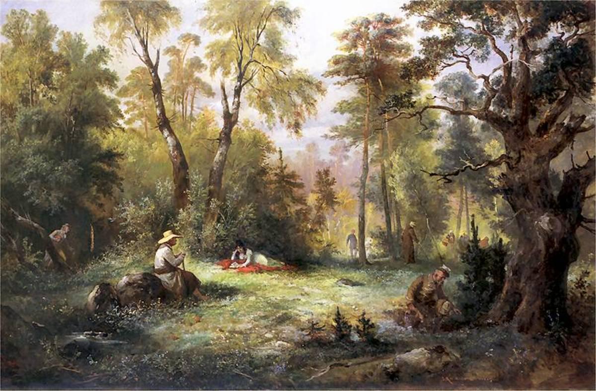 """Mushroom Picking"" by Franciszek Kostrzewski, circ. 1860"