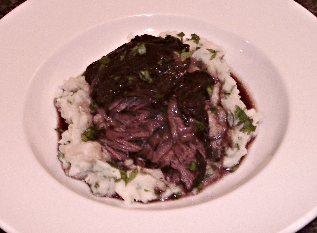 Succulent and tender ox cheek oozing juices.