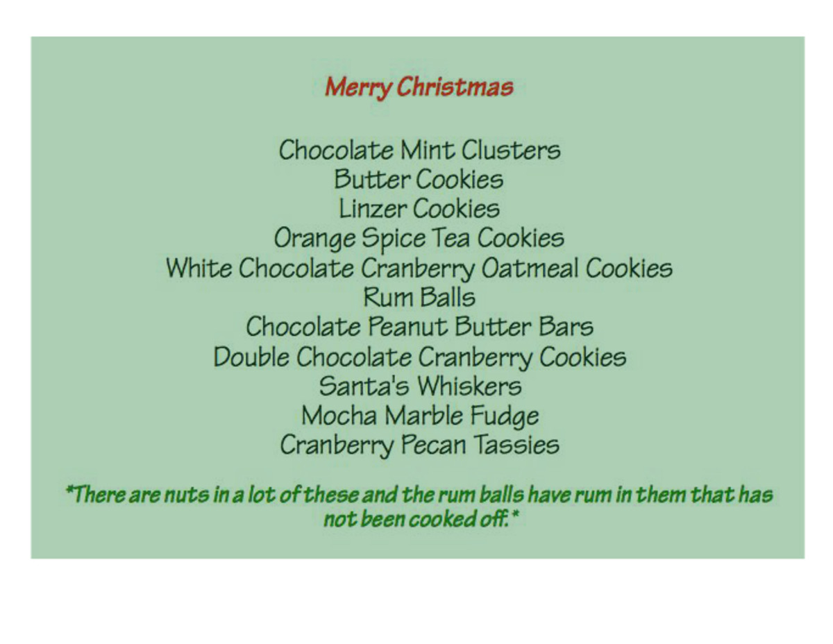 Finish off your perfect cookie tray with a list of the cookies included.  People love to know what kind of goodies they are getting.
