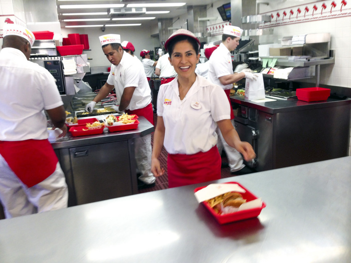 This photo shows the various positions in the stand.  The girl at the front is the counter greeter, and she likely took the order as well.  Fry guys are behind her (left), as well as a board person (right) and cooks (back right).