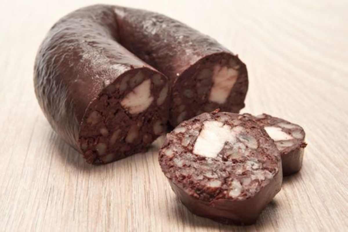Black pudding -- purchased from Claus' German Sausage and Meats, Indianapolis, IN.