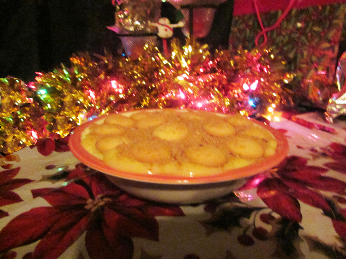 Finished dessert. You may indent your wafers in the pudding or not. They stay crispier longer if not pushed in.