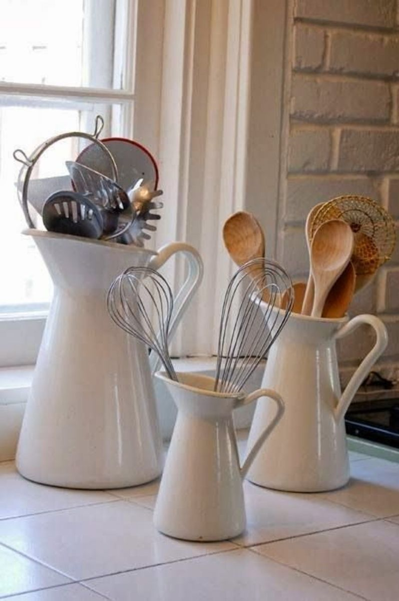 These vases look right at home on the counter in a farmhouse or country kitchen.