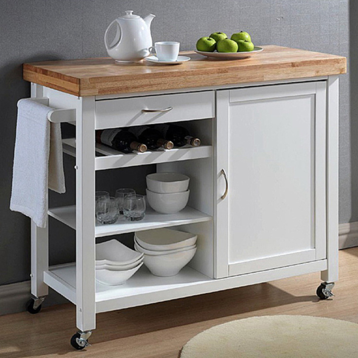 A kitchen cart provides the prep and storage space that you need and can be moved out of the way for entertaining.