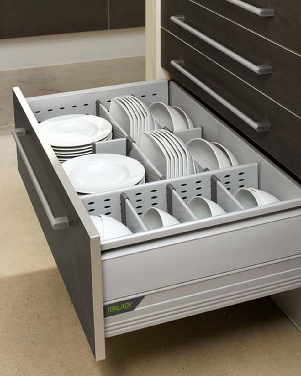 You can house the majority of your everyday dishes in a single large, well designed kitchen drawer.