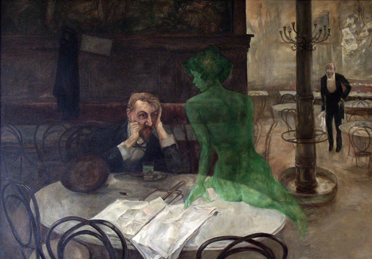 The Absinthe Drinker by Viktor Oliva. A night on the sauce leads to visions in popular mythology