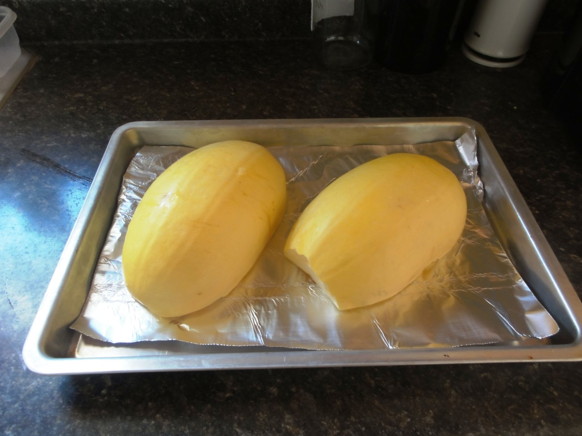 Put the squash halves face down on a baking sheet.