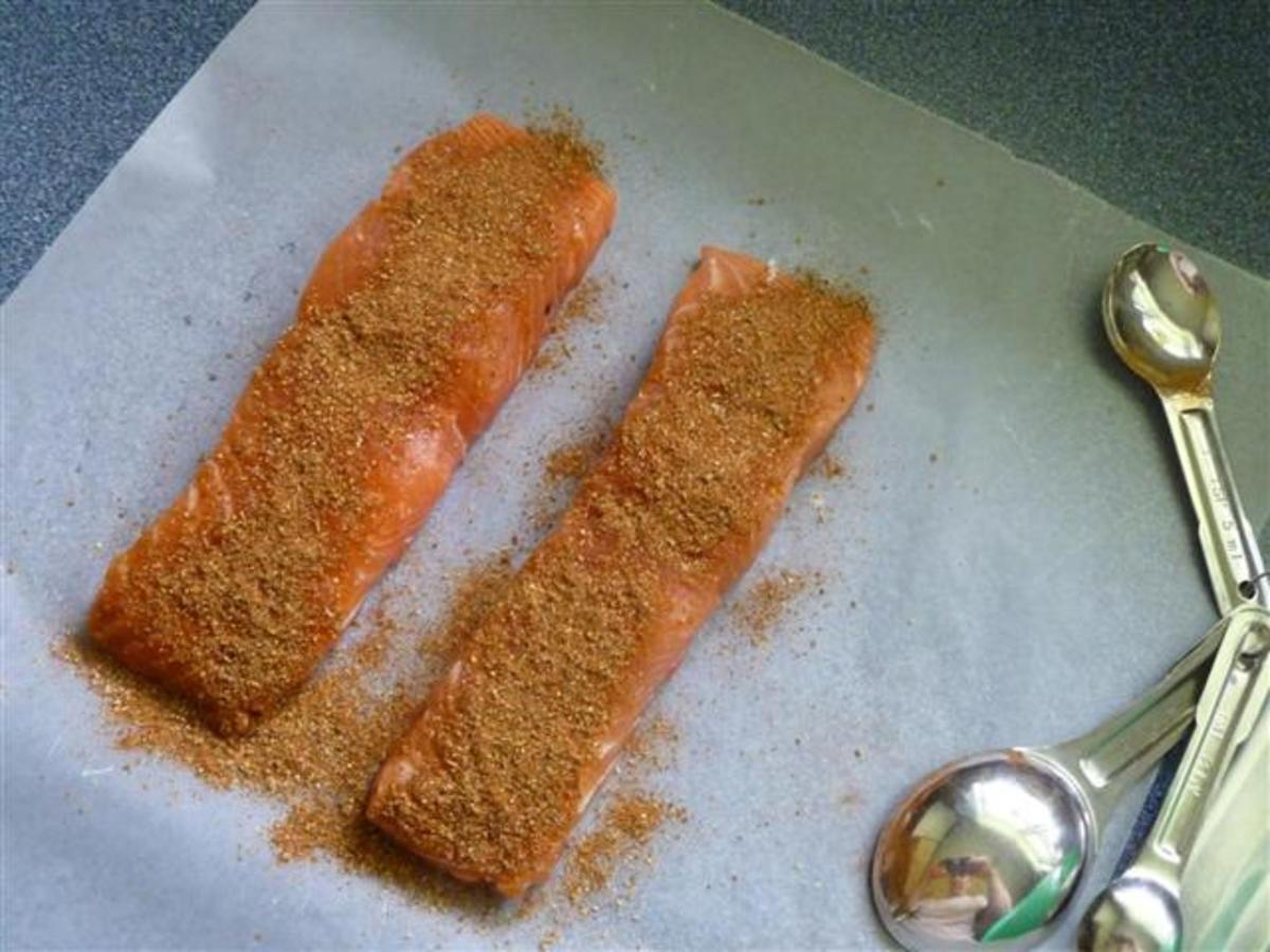 Apply the rub to the fish and pat with your fingers to make sure it sticks