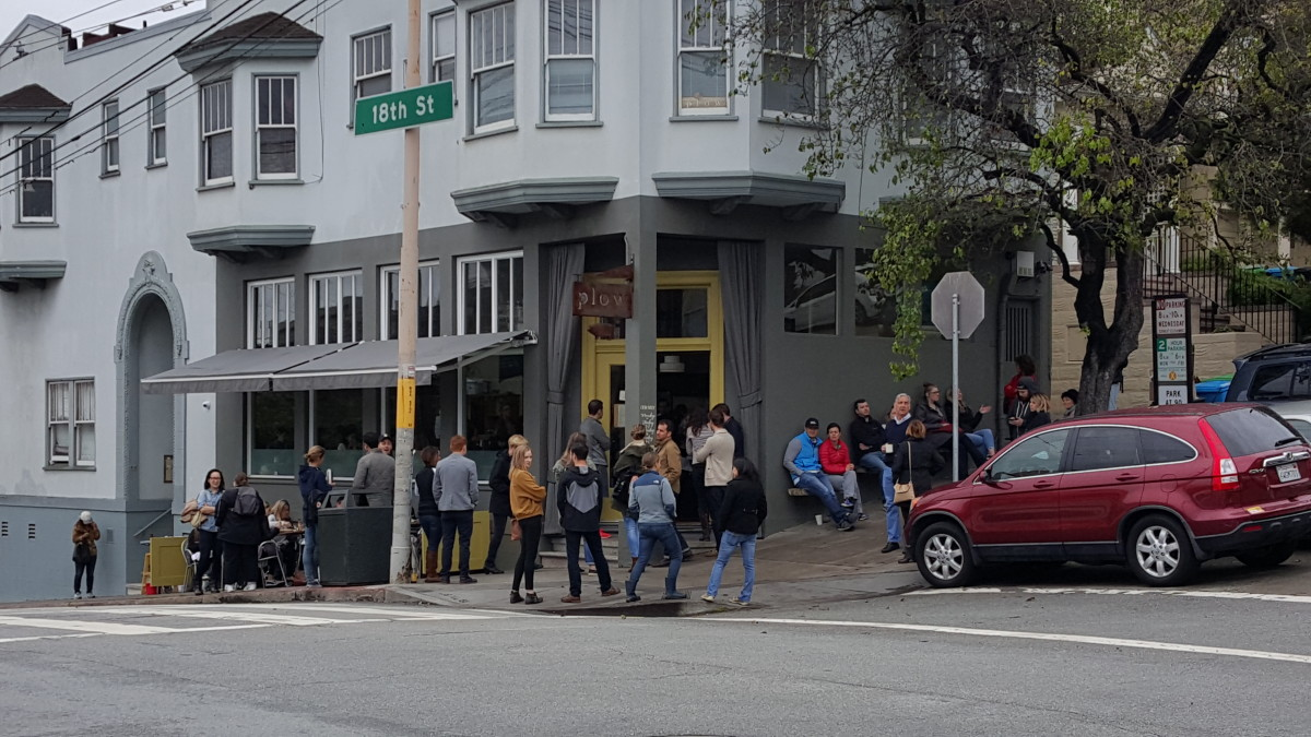 I ate at Plow on a Sunday morning, and their brunch line was quite formidable.