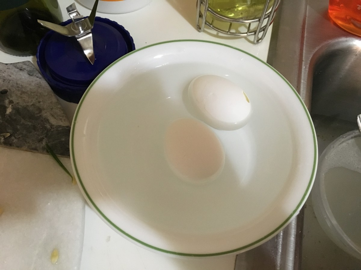 I prepared two eggs because I am bad a peeling boiled eggs of any kind without breaking them.
