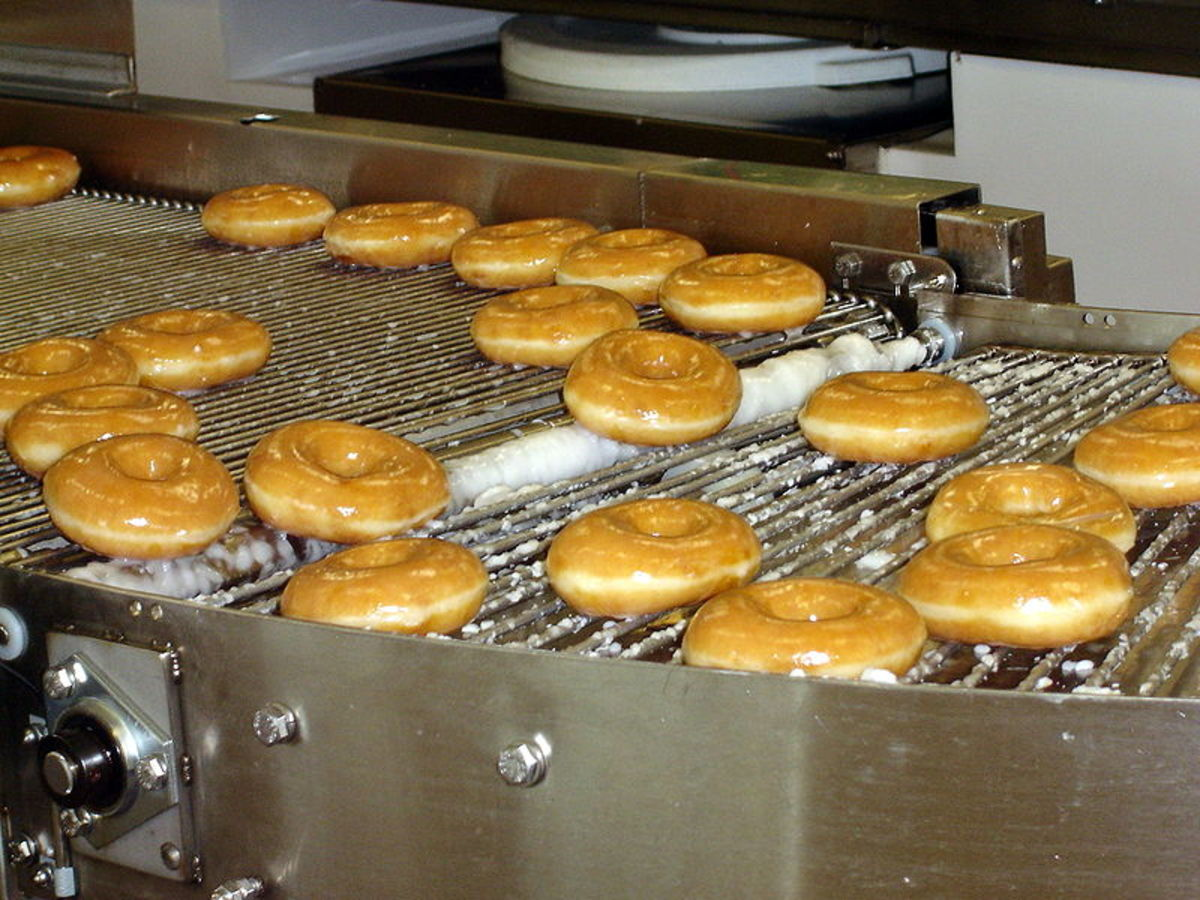 Krispy Kreme doughnuts being made at the Krispy Kreme restaurant