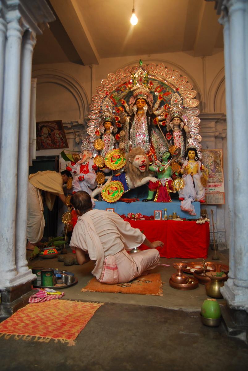 Godess Durga's idol at my Grandma's.
