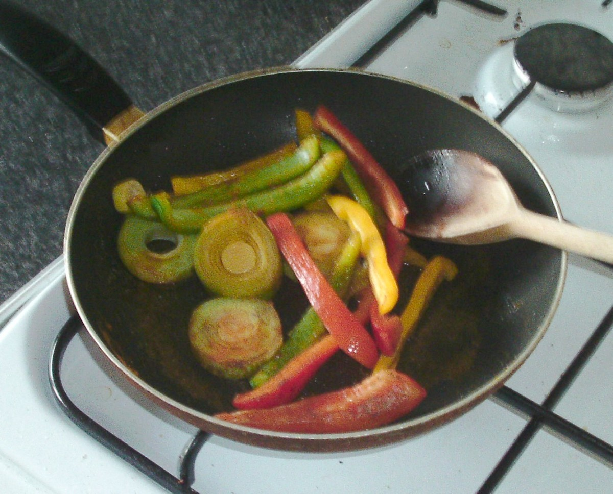Sauteeing peppers and leek