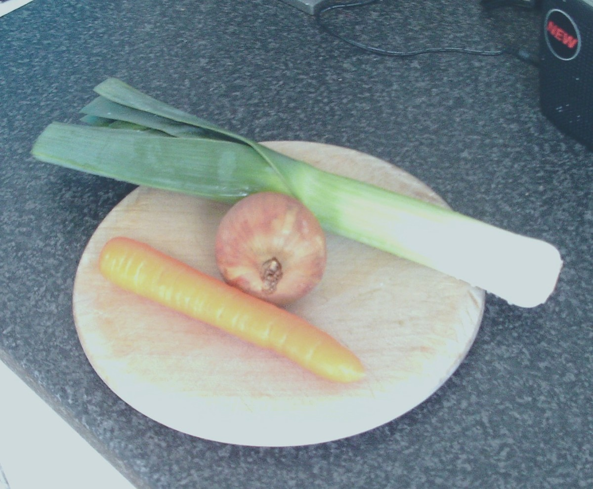 Leek, carrot and onion